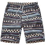VENCANN Men's Floral Print Elastic Waist Beachwear Short (Color : Stripe, Size : S)