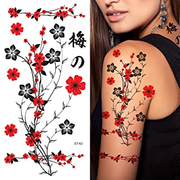 Amazon Com Supperb Flower Autumn Leaves Temporary Tattoos