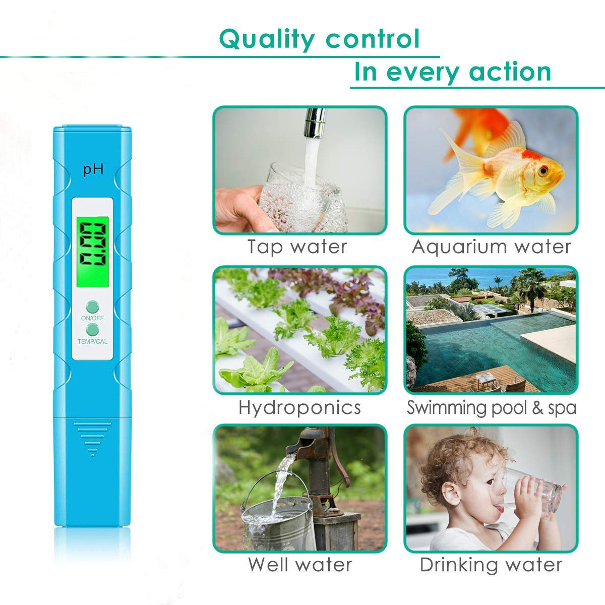 Blue Pool and Aquarium Water PH Tester Design with ATC VANTAKOOL Digital PH Meter PH Meter 0.01 PH High Accuracy Water Quality Tester with 0-14 PH Measurement Range for Household Drinking