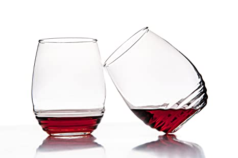 3281d7c4a429 Amazon.com  Set of 4 - All Purpose Stemless Wine Glasses -17 Ounce ...