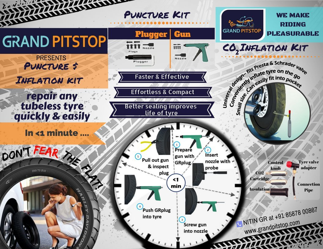 Grand pitstop gunkit to repair you tubeless tyre puncture with zero grand pitstop gunkit to repair you tubeless tyre puncture with zero efforts for all car and bikes amazon car motorbike fandeluxe Image collections