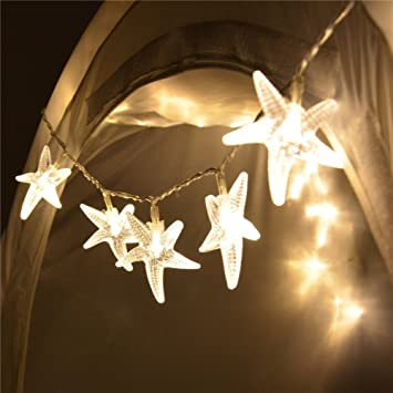 sunniemart 20 led warm white starfish battery operated outdoor decorative lights for patio garden lawn - Outdoor Decorative Lights
