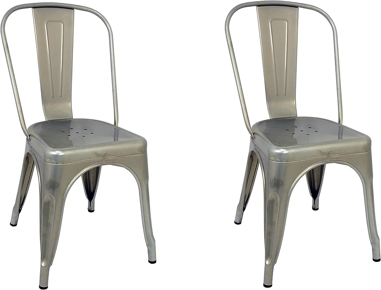 La Silla Española - Pack 2 Sillas estilo Tolix con respaldo. Color Gris Industrial. Medidas 85x54x45,5: Amazon.es: Hogar