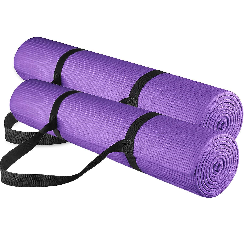 Yogu and Fitness 1 /2-inchextra Thick Long 180 cm PVC快適なフォームヨガマット練習、ヨガ、ピラティス B07DRFF3WM  Purple 1/4\
