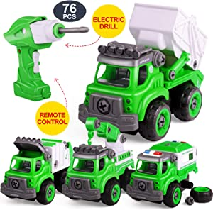 Remote Control Put Together Building Car Sets Take Apart Toys Electric Drill for Boys & Girls Engineering Construction Truck Kit for Kids Ages 4 5 6 7 8 Years Old, YAHI
