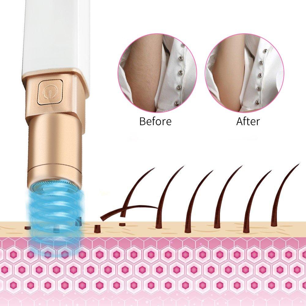 Elektrorasierer Damen, Ifecco elektrischer Haarentferner für Gesicht/Härchen/Kinnstoppel/Schnurrbart, Damenrasierer Haarentfernungsgerätmit 2 Ersatzscherköpfe
