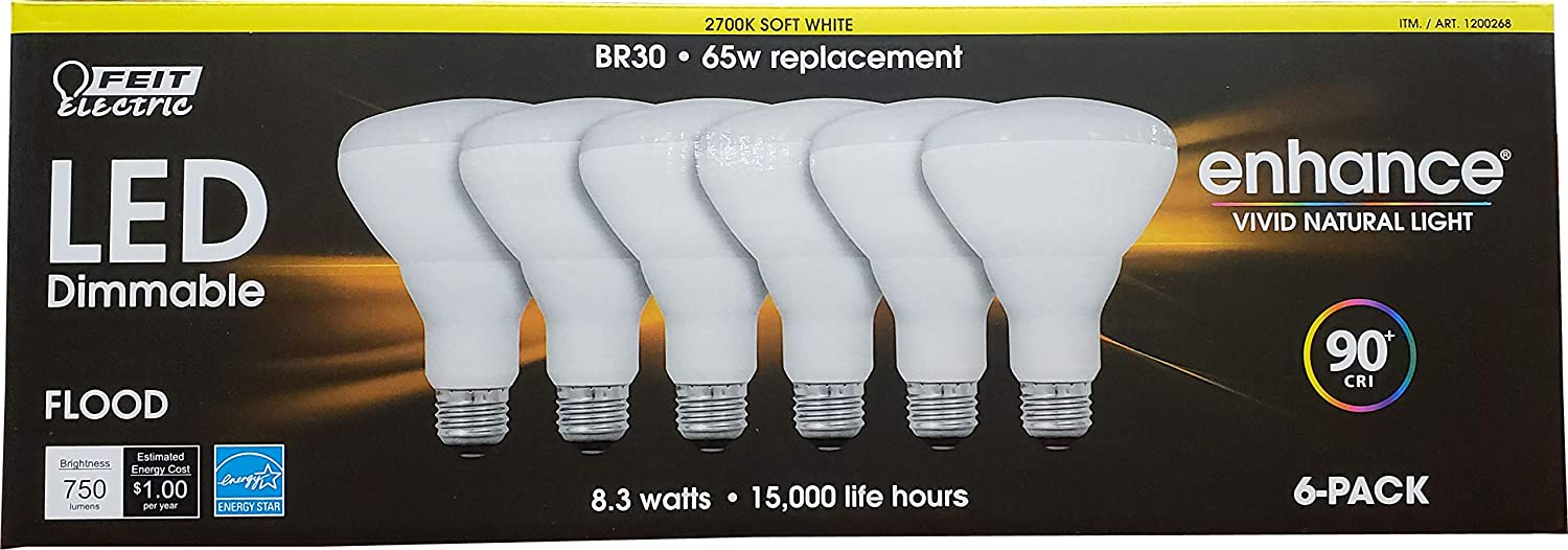 Feit Electric Dimmable Led BR 30 Flood 65W Soft White, 6 Count