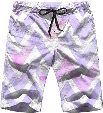 Watercolor Chevron Purple Color White Men's Swim Trunks