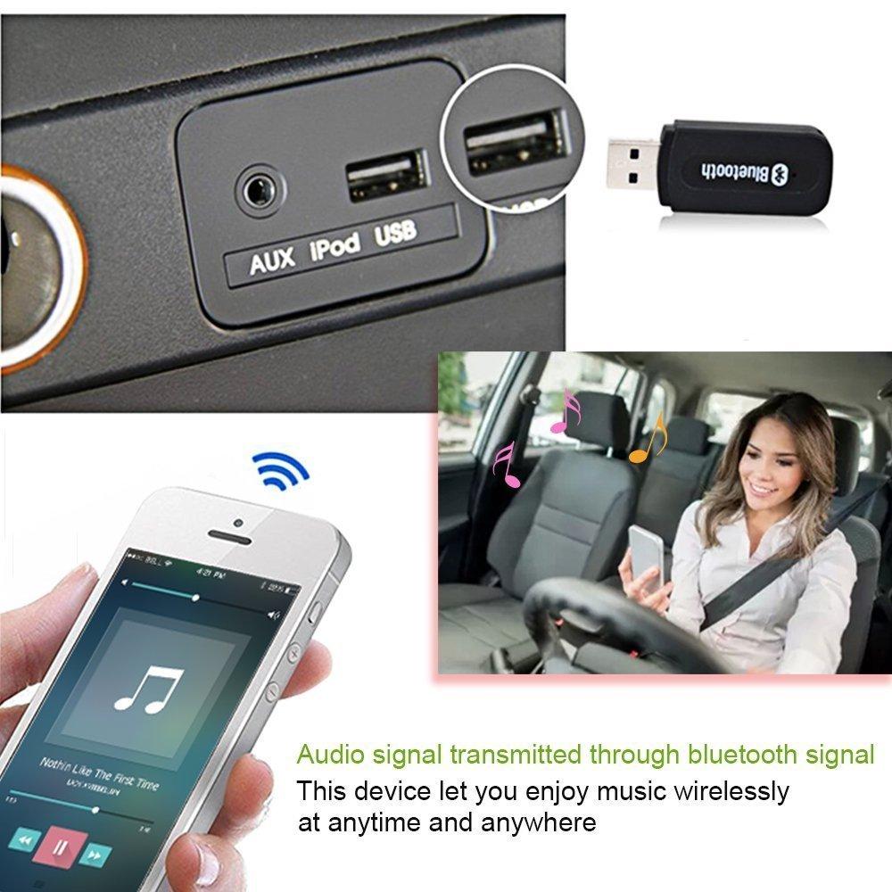 negro YETOR USB Bluetooth Receptor de m/úsica 3,5 mm Salida Est/éreo para Altavoces port/átiles y Home sistemas est/éreo de coche compatible con iOS Android cualquier tel/éfono m/óvil