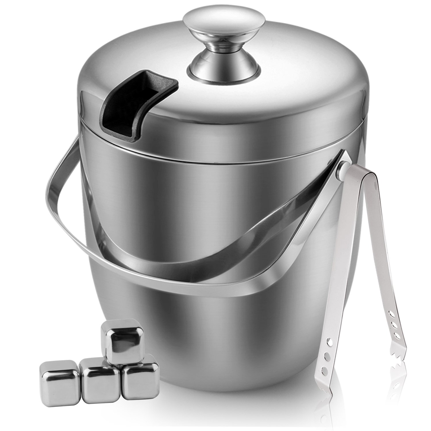 Fortune Candy Double Wall Stainless Steel Ice Bucket with Tong and Ice Cubes,3 Litre/0.8 Gal