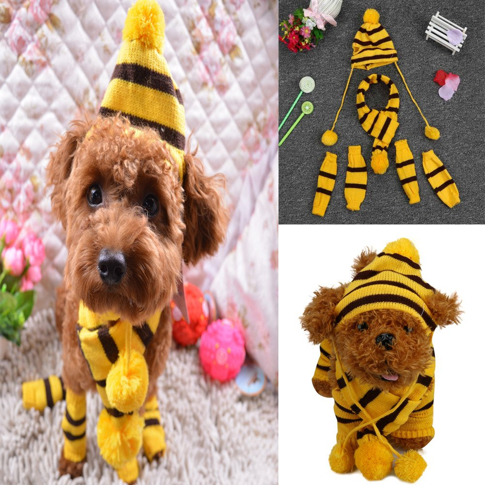 6Pc/Set Dog Pet Puppy Hat Scarf Leg Warmer Pet Clothes Neckerchief Autumn Winter Dog Cat Scarf Collar Pet Scarf Teddy Poodle Scarf Bichon Scarf Dog Bibs Dog Bandana Scarf (Yellow, S) by succeedtop (Image #2)