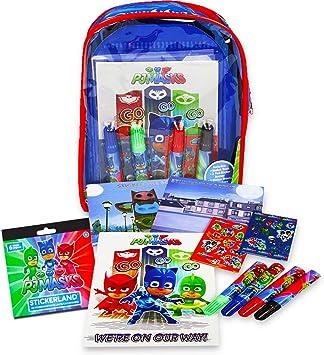 Disney PJ Masks 12 Unidades de Mochila para Colorear y Actividades – Almohadillas de Dibujo para niños y Libros con Pegatinas y marcadores y Pegatinas ...