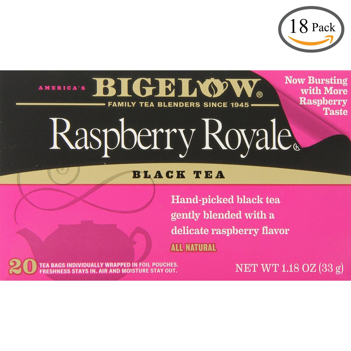 Bigelow Raspberry Royale Black Tea, 20-Count Boxes (Pack of 18)