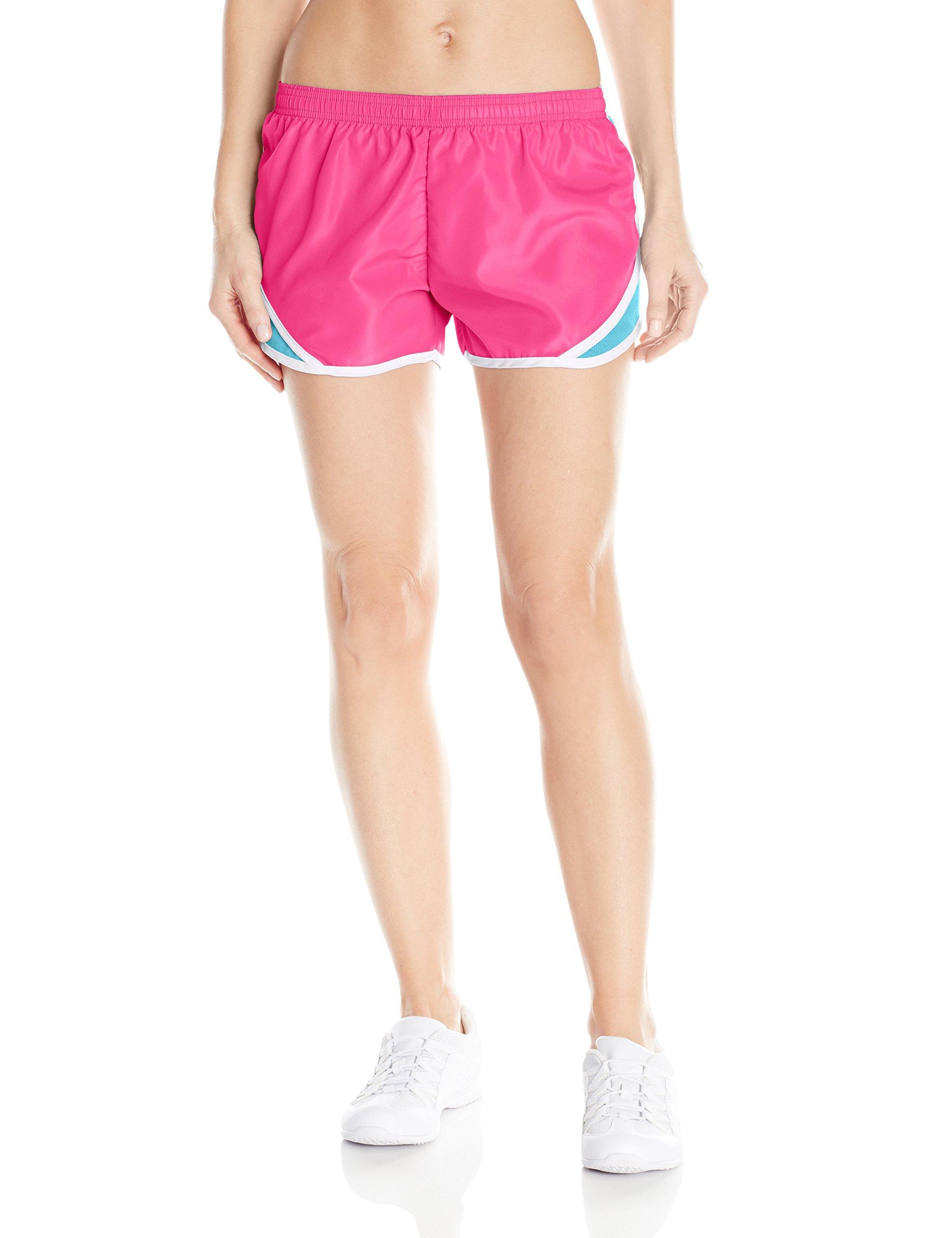 Soffe Women's Juniors' Team Shorty Shorts, Fuchsia Purple/Scuba Blue, Small by Soffe