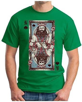 OM3 Pik-King - T-Shirt Skull Poker Pik König Card Royal Flush Skat