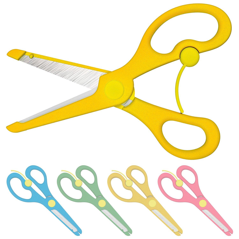 Forbici per bambini con sicura–colori rosso, blu, giallo o verde 4er-Set Enid Store