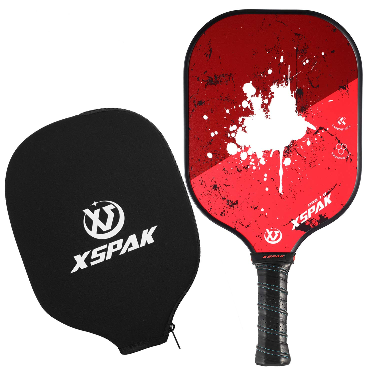 XS XSPAK Pickleball Paddle - Lightweight Graphite/Carbon Fiber Face & Polypropylene Honeycomb Composite Core Paddles Including Racket Cover, USAPA Approved, Red by XS XSPAK