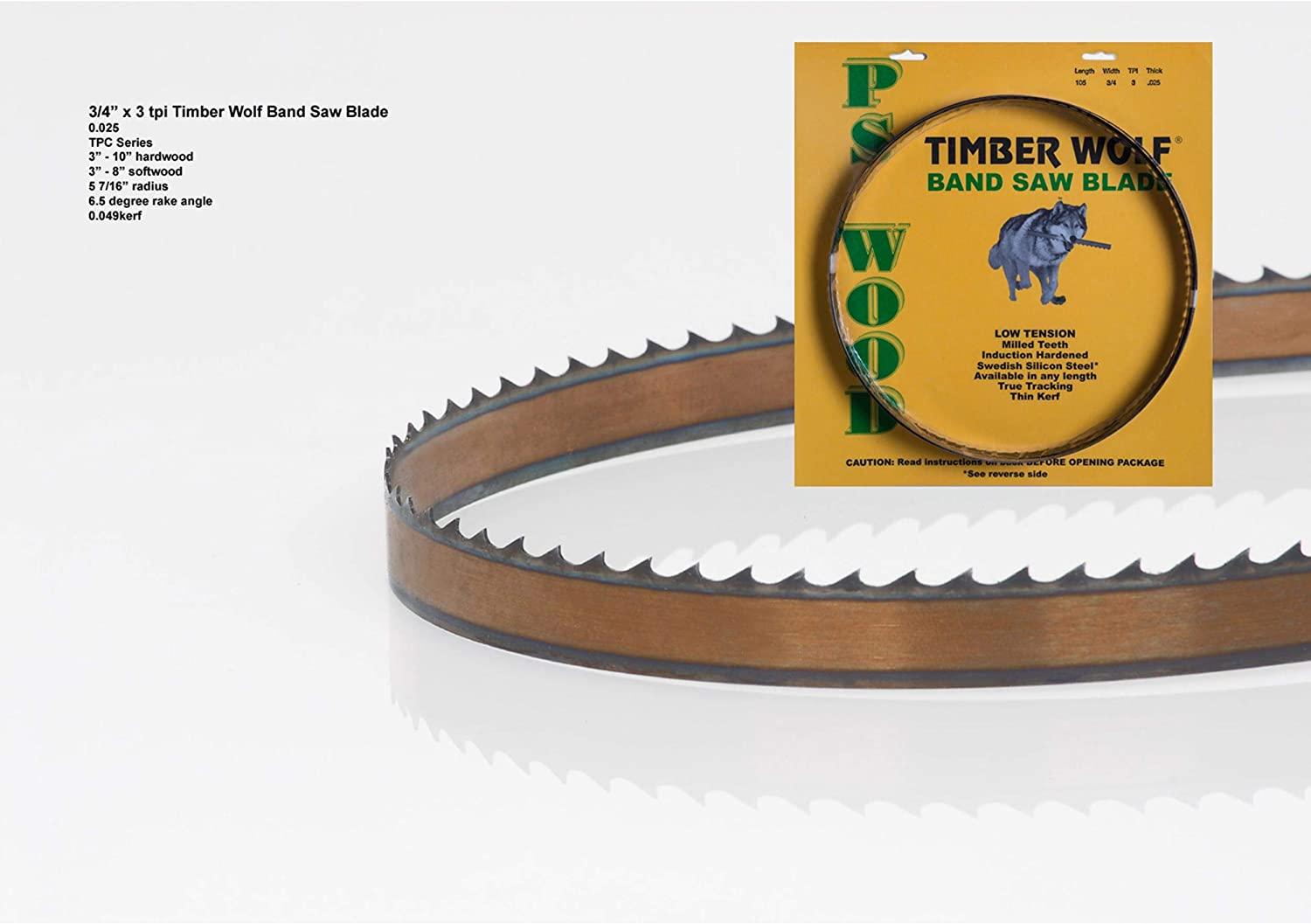 Timber Wolf 105 x1//2 x 3TPI x .032 Silicon Steel Bandsaw Blade