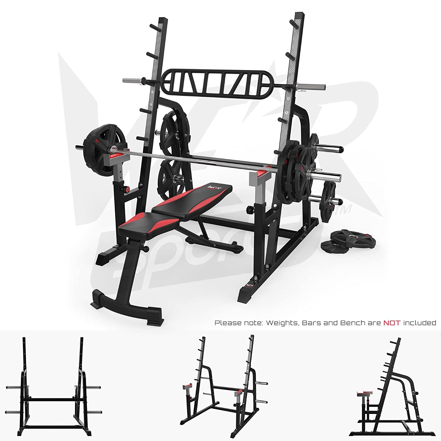 We R Sports Adjustable Weight Lifting Squat Rack Gym Bench Press ...
