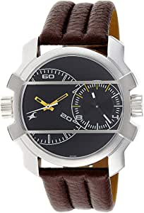 Fastrack Men's Black Dial Leather Band Watch - 3098SL02