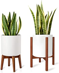 Mkono Plant Stand Mid Century Wood Flower Pot Holder (Plant Pot NOT Included) Potted Stand Indoor Display Rack Rustic Home Decor, Up to 10 Inch Planter, Brown