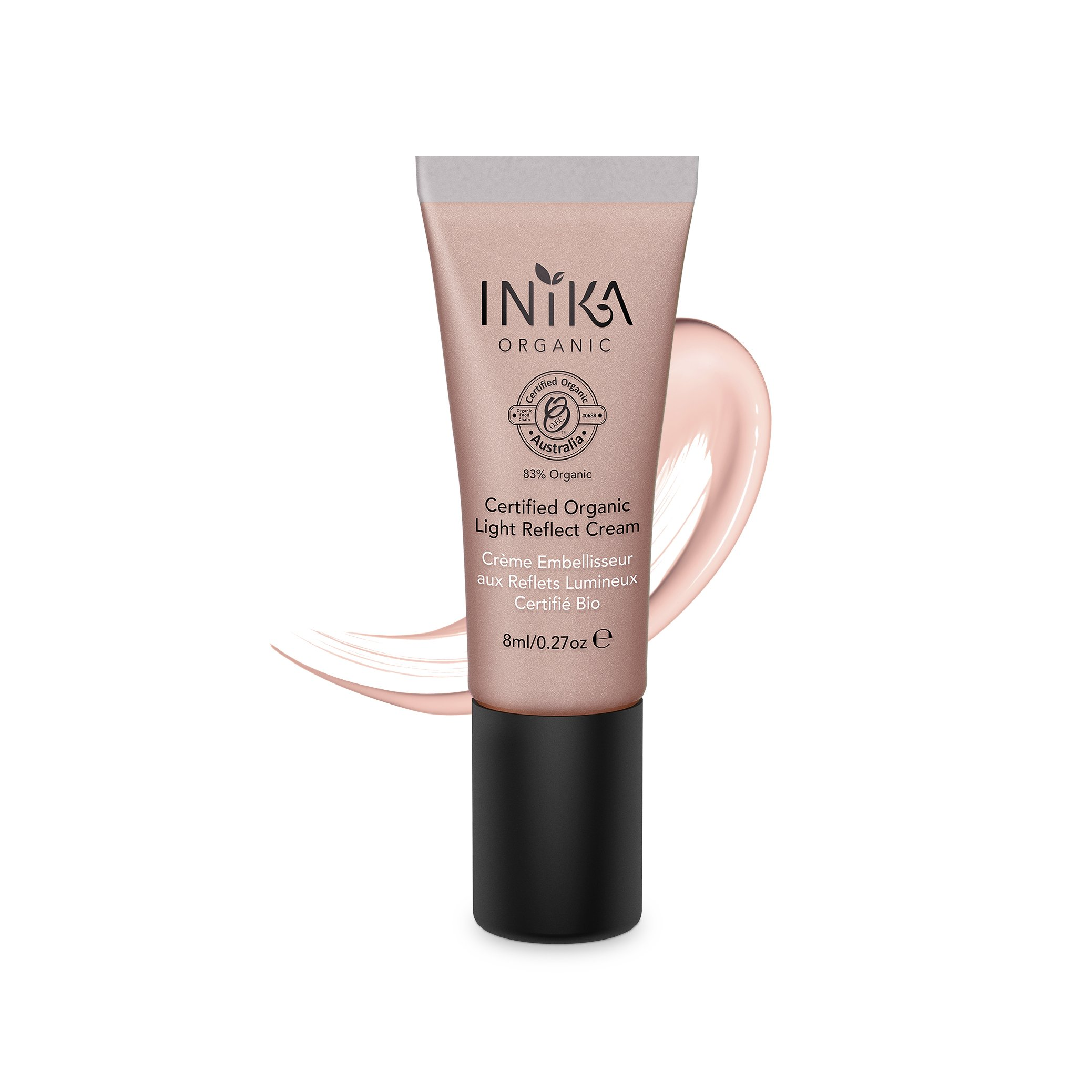 INIKA Certified Organic Light Reflect Cream, All Natural Make-up Highlighter, Organic Beauty Illuminator, Aloe Vera, Vitamin A, C, E, Vegan, 8 ml (0.27 oz)