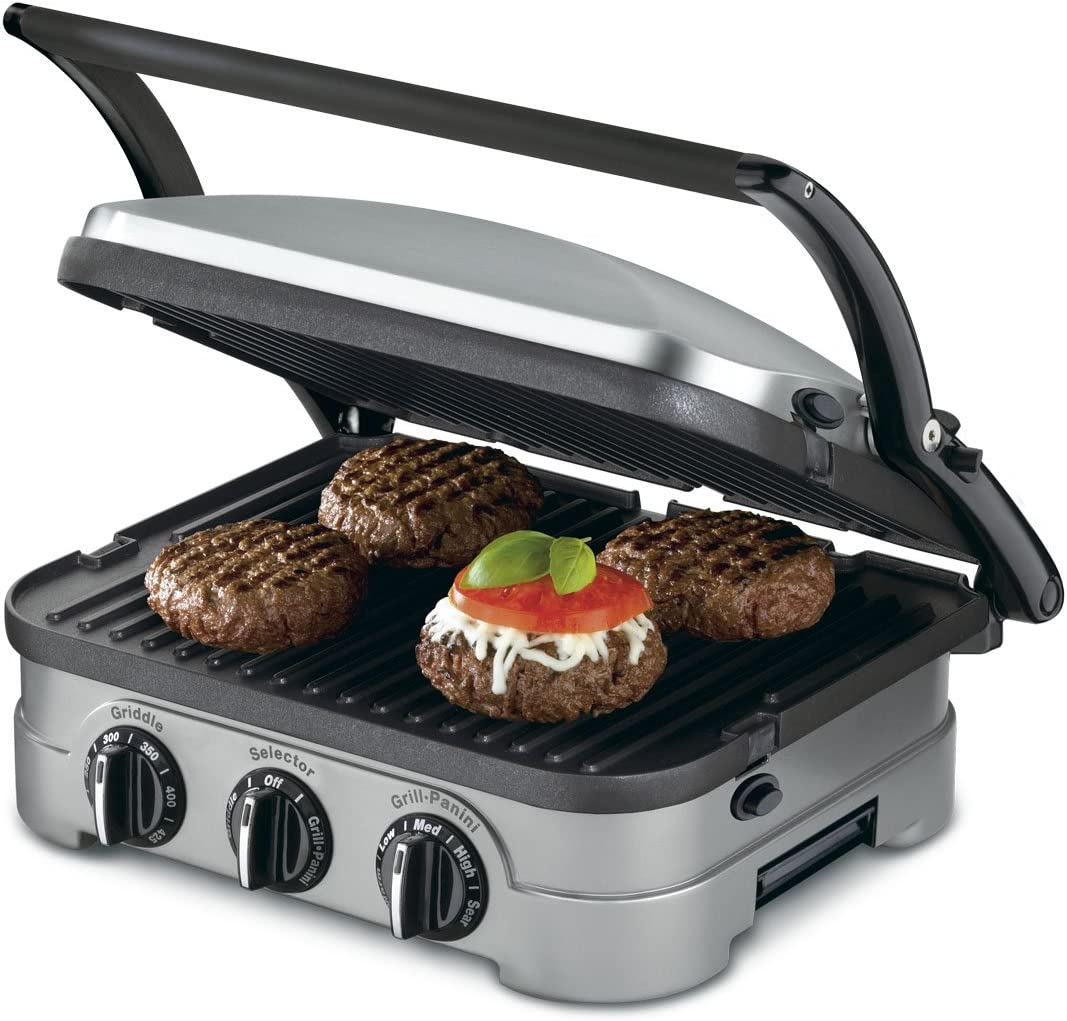 Cuisinart GRID-8NFR 5-in-1 Griddle Contact Counter-top Grill Panini Press Griddle Renewed , Silver
