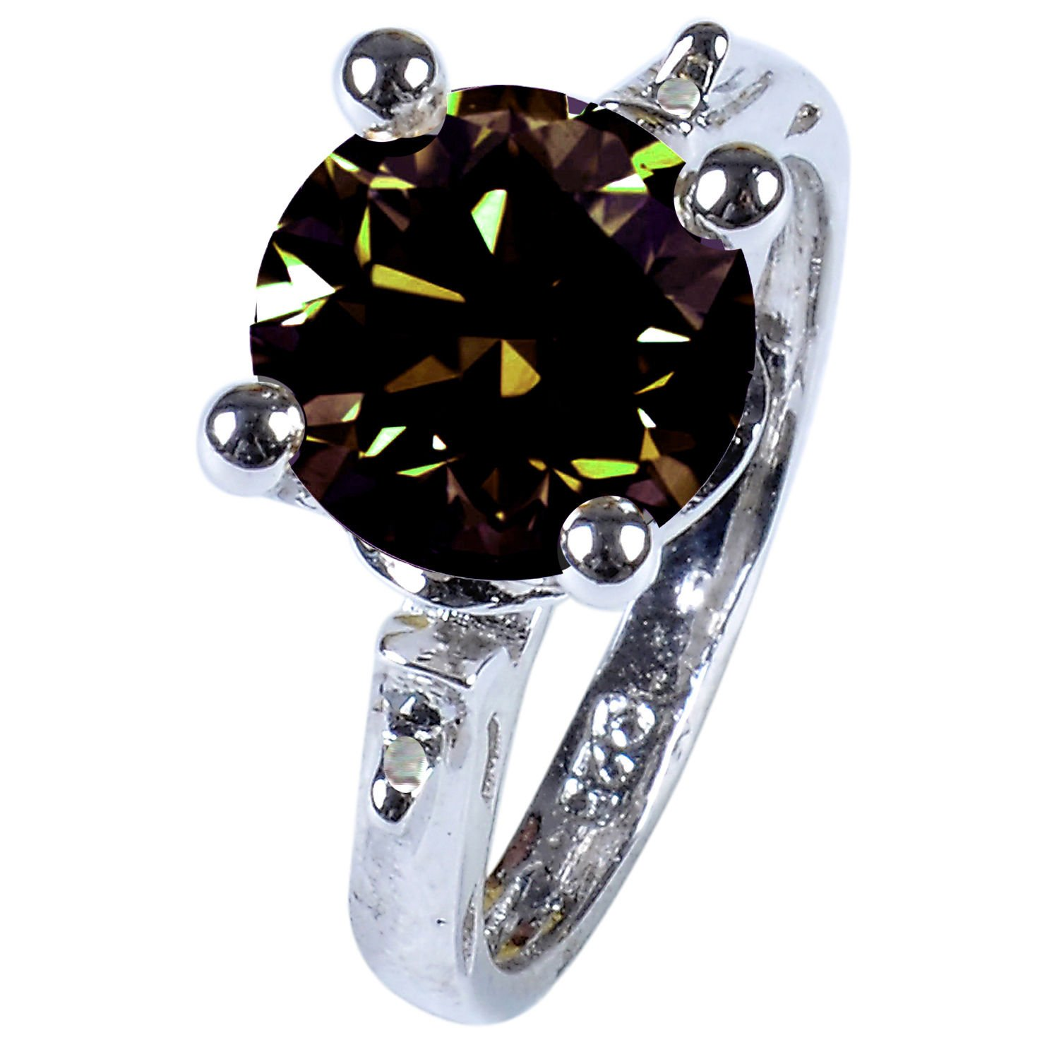 RINGJEWEL 2.63 ct VS1 Round Real Moissanite Solitaire Engagement Silver Plated Ring Brown Color Size 7