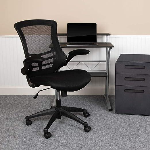 Amazon Com Flash Furniture Mid Back Black Mesh Swivel Ergonomic Task Office Chair With Flip Up Arms Furniture Decor
