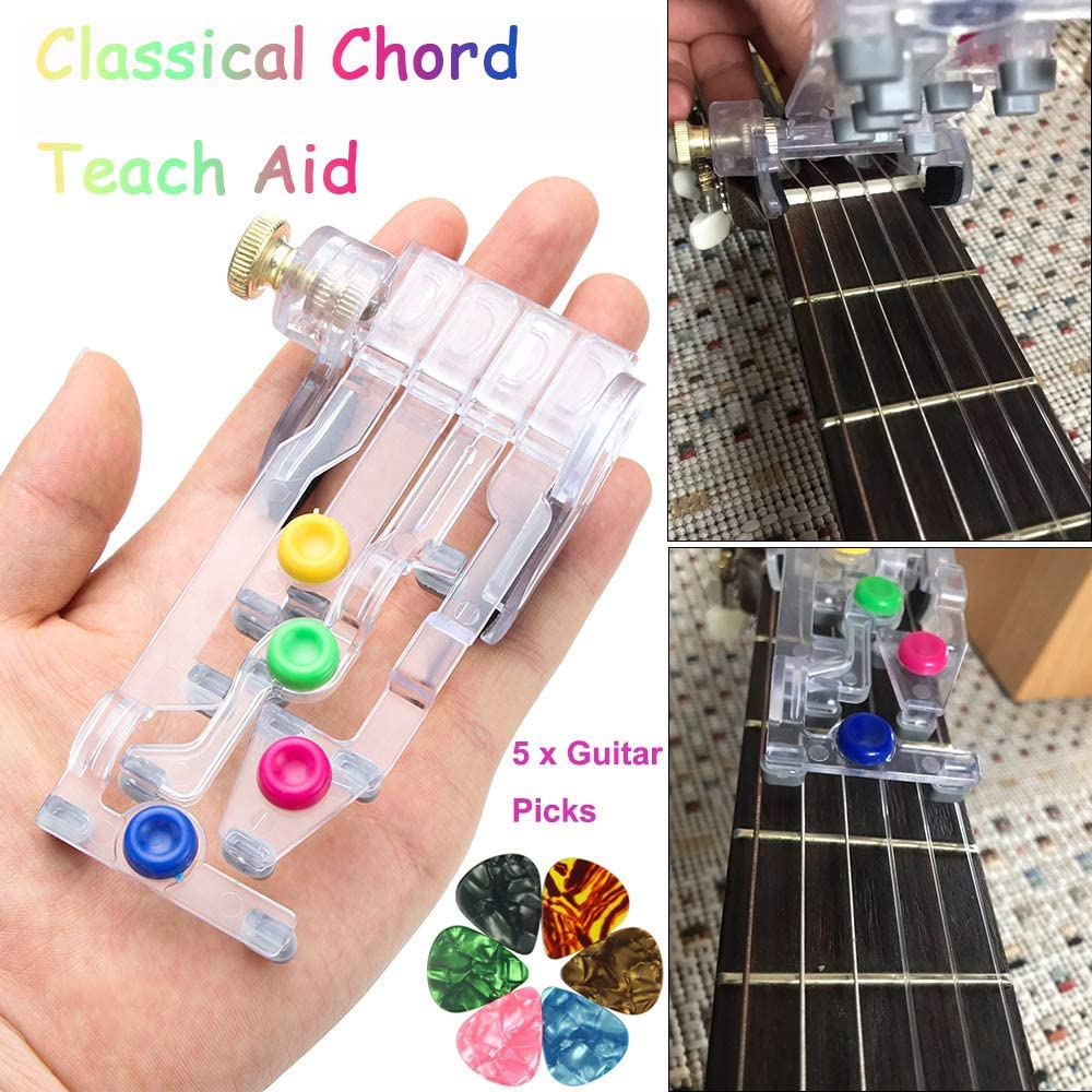 Classical Chord Guitar Practice Aid Tool for Adults /& children Trainer Beginner Guitar Beginner One-Key Chord Assisted Learning Tools with 5 0.46mm Pick Guitar Learning System