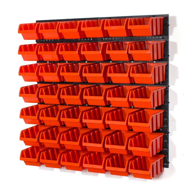 Panel organizador 4 paneles 42 cajas apilables con abertura frontal color naranja