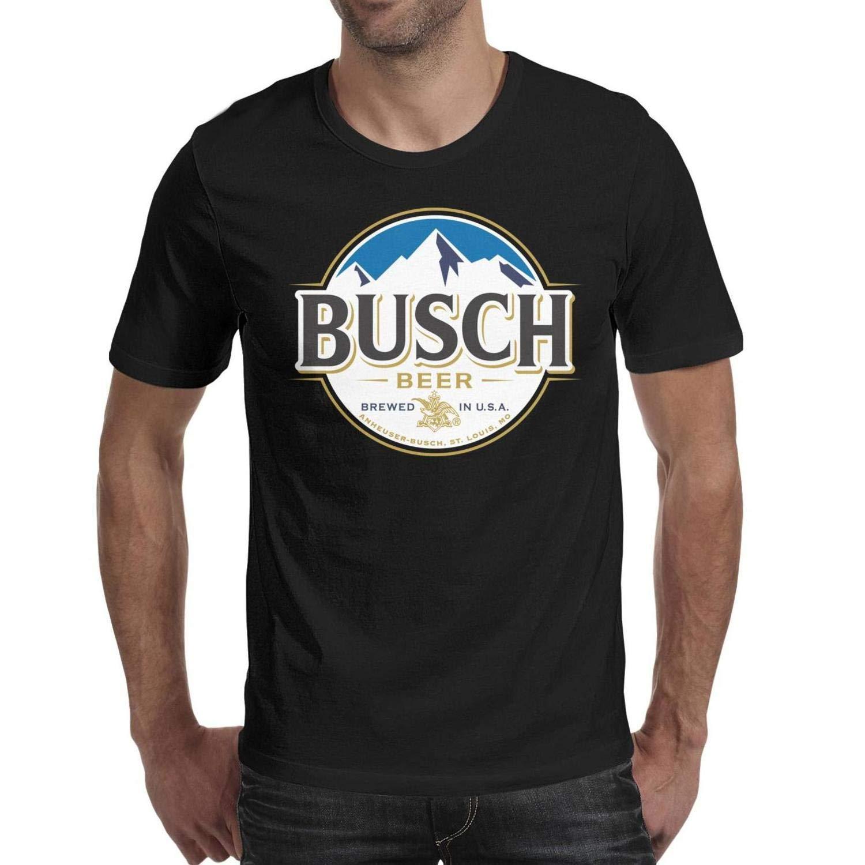 Ambulseek Adult Short Sleeve Pattern Tops Man Busch-Beer-Logo t Shirts