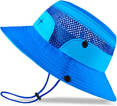 Baby Sun Hat Toddler Kids Summer Cap Protection Bucket With Chin Strap Ocean