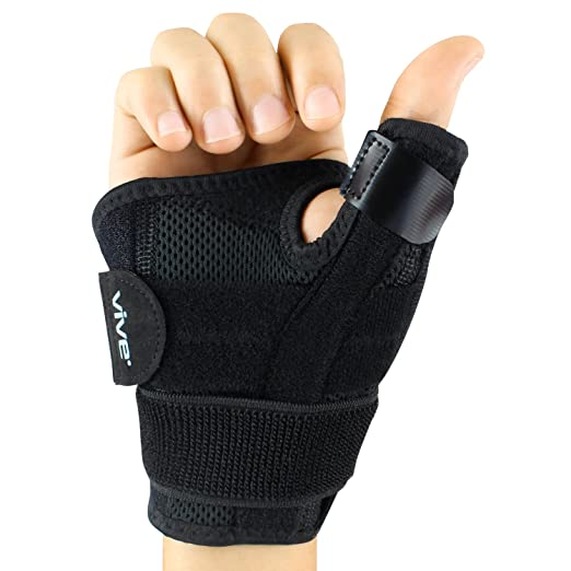 Arthritis Thumb Splint by Vive - Thumb Spica Support Brace for Pain, Sprains, Strains, Arthritis, Carpal Tunnel & Trigger Thumb Immobilizer - Wrist Strap - Left or Right Hand