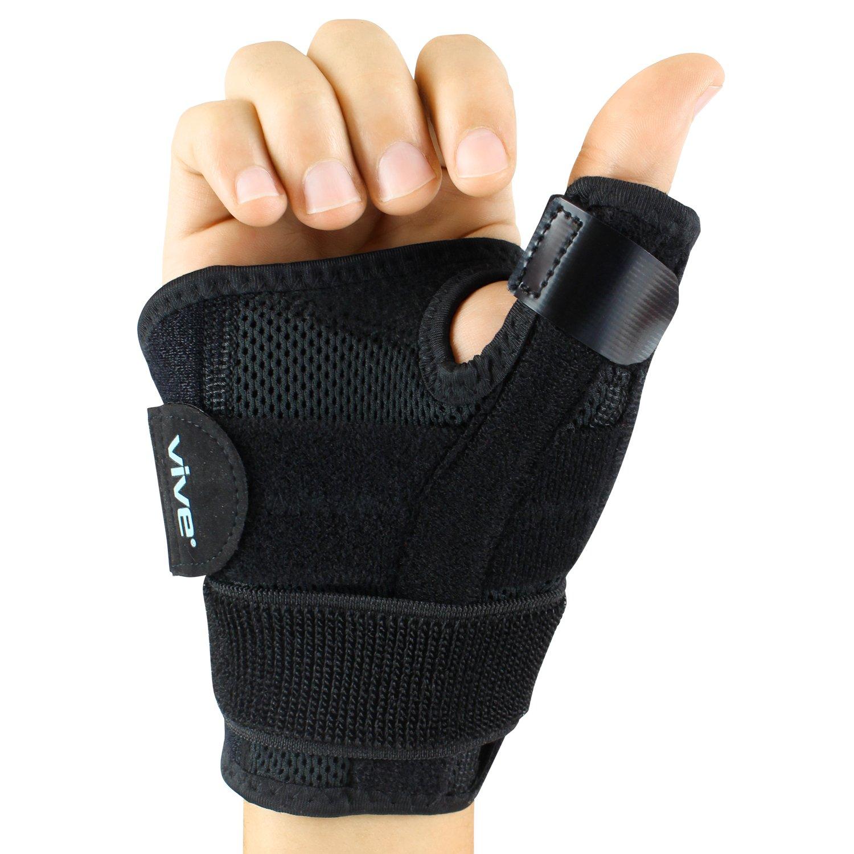 Vive Arthritis Thumb Splint - Thumb Spica Support Brace for Pain, Sprains, Strains, Arthritis, Carpal Tunnel & Trigger Thumb Immobilizer - Wrist Strap - Left or Right Hand (Black)