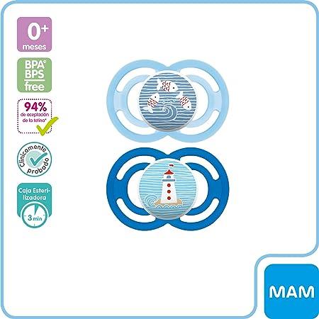 MAM Premium Soothing Set, juego de regalos para bebés de +6 meses, incluye 2 chupetes de silicona Perfect +6, 2 chupetes Perfect Night +6 y sujetachupetes Clip it, NIÑO (Boy)