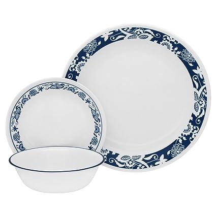 Corelle Livingware 32-Piece Dinnerware Set True Blue Service for 8 (Two  sc 1 st  Amazon.com & Amazon.com | Corelle Livingware 32-Piece Dinnerware Set True Blue ...