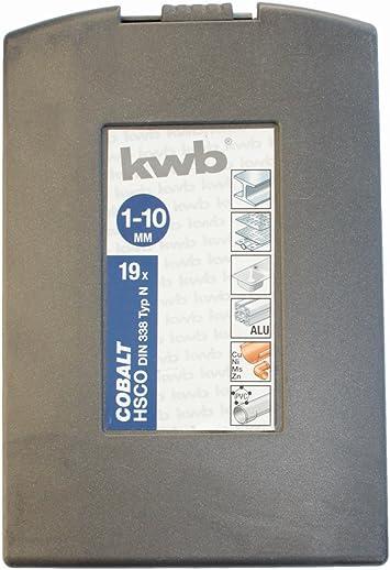 KWB 19 piezas Juego de brocas 1 – 10 mm, metal, cobalto Hsco DIN 338 tipo N broca – 248930: Amazon.es: Bricolaje y herramientas