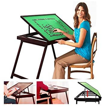 Wooden Jigsaw Puzzle Table For Adults U0026 Kids,Portable Folding Table For  Puzzle Games With