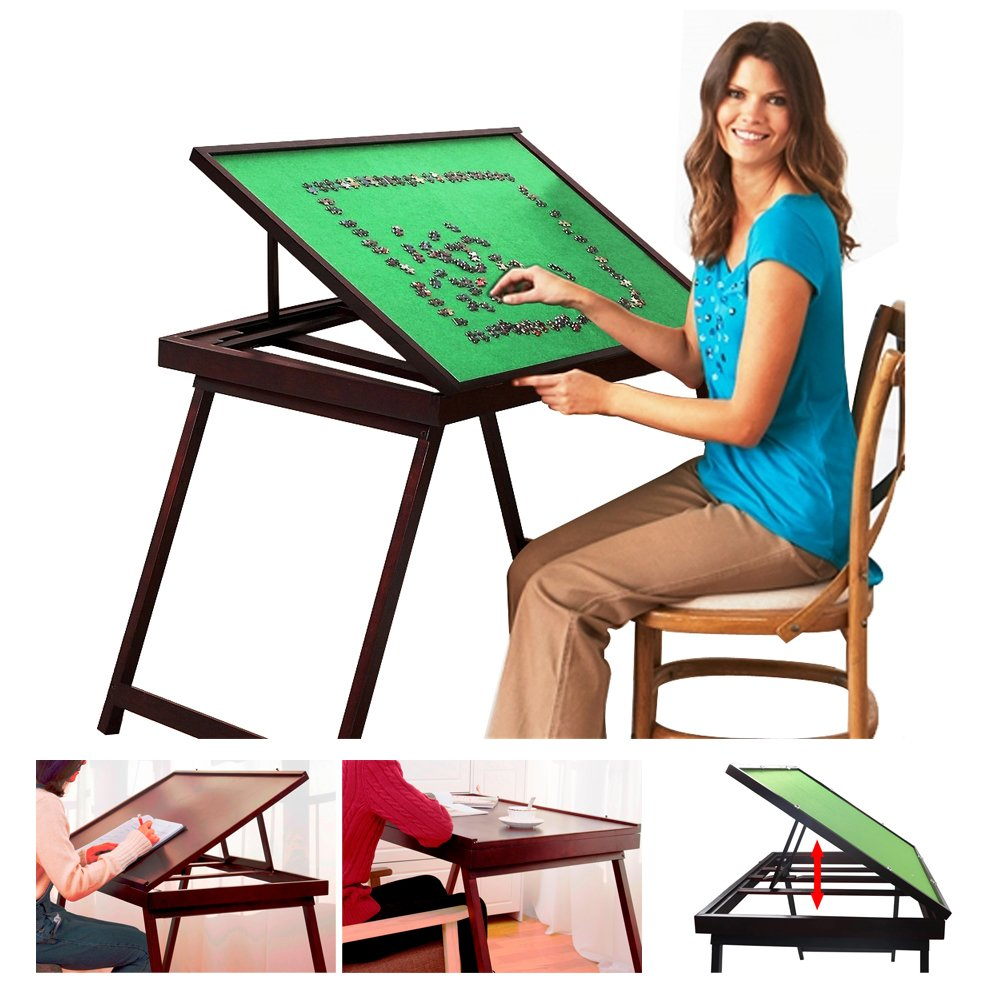 Wooden Jigsaw Puzzle Table For Adults & Kids,Portable Folding Table For Puzzle Games With Storage & Cover,3 Levels Adjustable Tilting Table,Multifunction Home Furniture - Puzzle Accessories