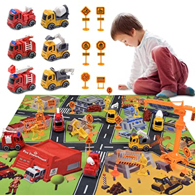 Acelane Construction Toys Diecast Vehicles Playset with Construction Cars/Road Signs/Playmat Engineering Toys Pretent Play Family Birthday Christmas Party Gifts for Boys Kids Toddlers 3+ Years Old: Sports & Outdoors