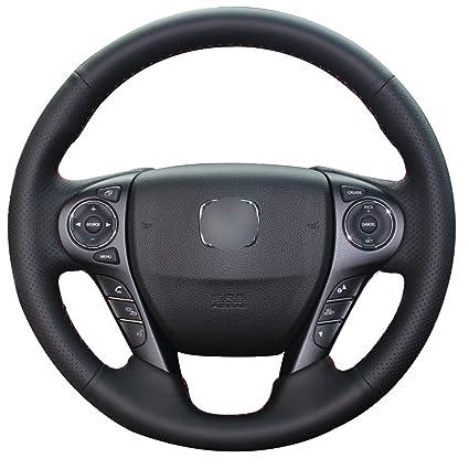 Loncky Black Genuine Leather Auto Custom Steering Wheel Covers For Honda  Accord Sport Touring EX
