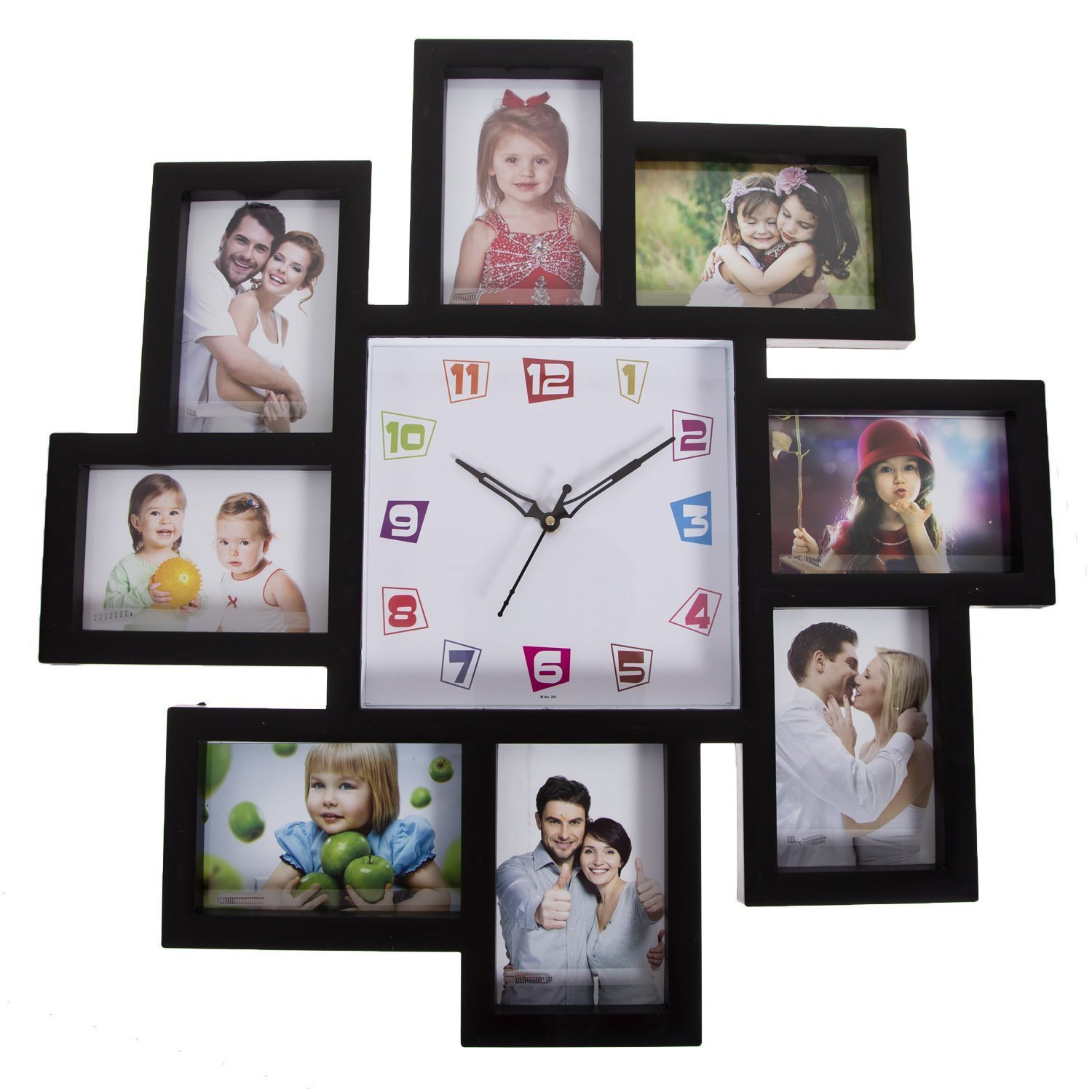 Buy Smera Plastic Wall Clock with Photo Frame Collage (Black) Online at Low  Prices in India - Amazon.in