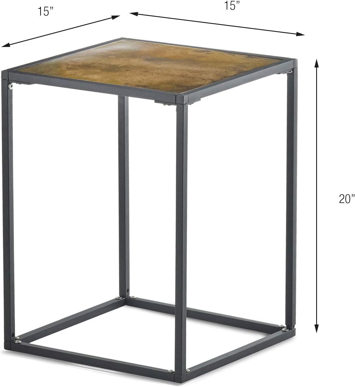 - Amazon.com: Design Ideas Pietra Patina Small Side Table, Metal Modern End/Accent  Table, Black/Brass: Kitchen & Dining