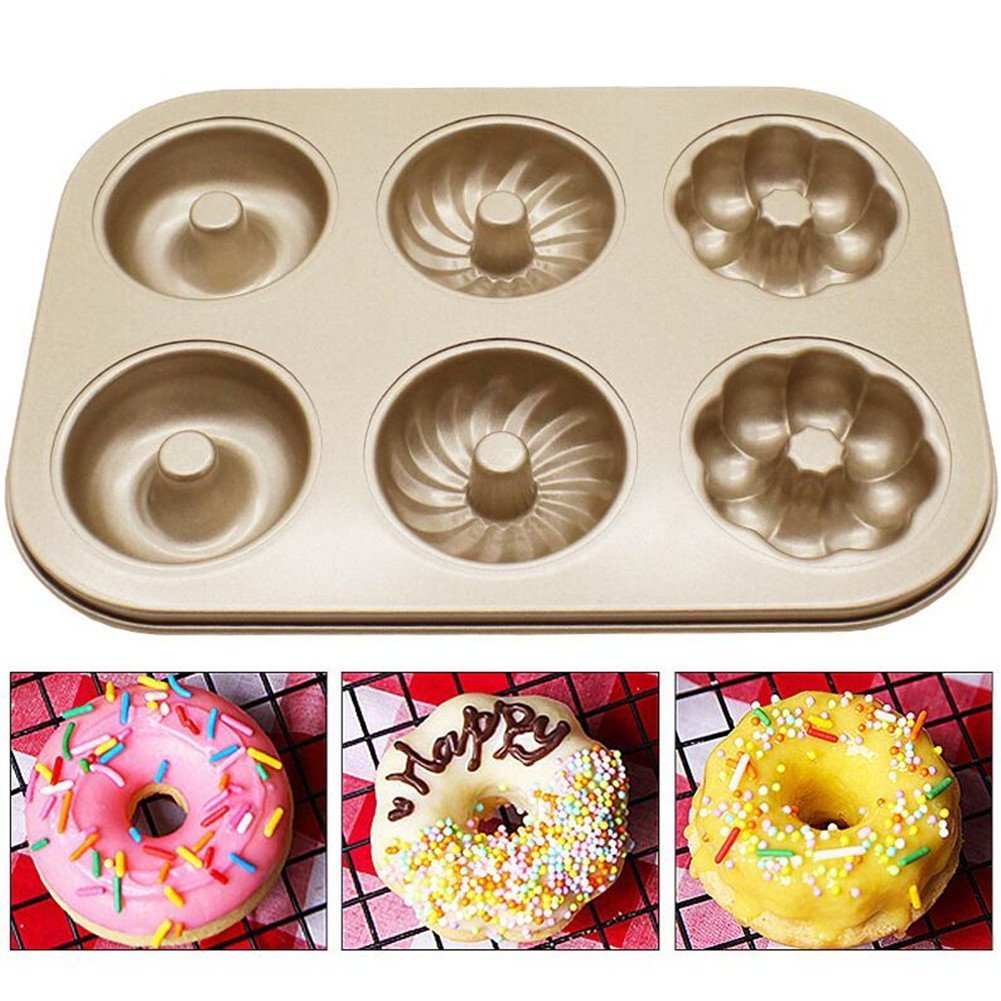 6 Cups Pattern Donuts Mold Pan Carbon Steel Baking Bun Trays Mould Loaf Baking Pans Dish Baguette Non-Stick Confectionery Tools Donuts Bakeware Mould - 26.5x18.5x2.1cm VALINK