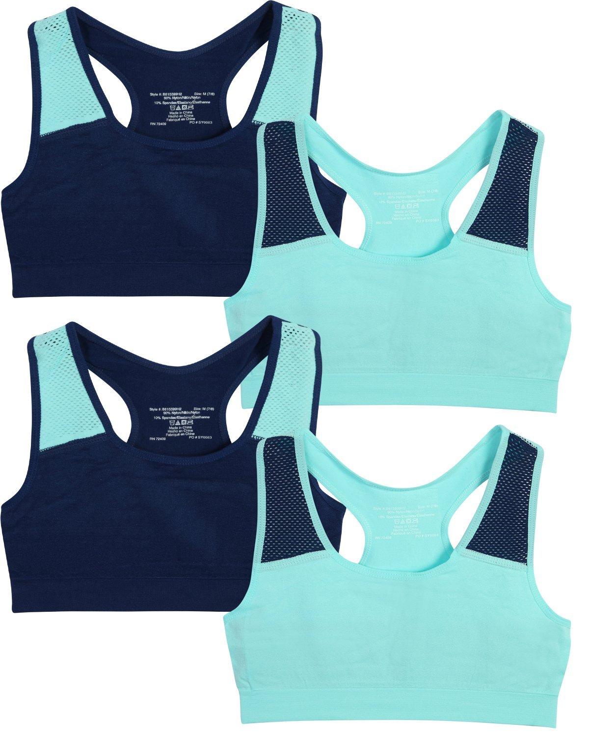 Only Girls by Rene ROFE Girl Seamless Criss Cross Racerback Sports Bra, (4 Pack) (Medium - 7/8, Aqua & Navy)'