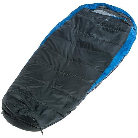skandika Oakland - Saco de Dormir Tipo Momia - XXL Extra Ancho - 220x100 cm - acoplable - Bolsa de Compresión - Azul/Gris (para diestros): Amazon.es: ...