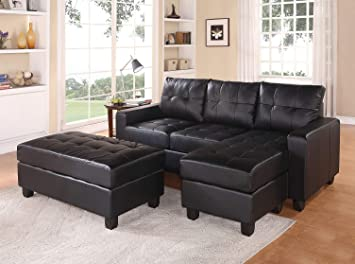ACME Lyssa Black Bonded Leather Sectional Sofa with Reversible Chaise and  Ottoman