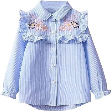 feiXIANG Moda para niños Ropa de Primavera y otoño Lindo niño niña Camisa de Manga Larga bebé Bordado a Rayas Camisa Floral Superior: Amazon.es: Electrónica