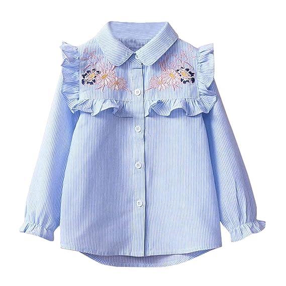 99ac30a76 K-youth Niñas Camisetas para 2 a 6 Años Chic Rayas Floral Impresión Niños  Bebé